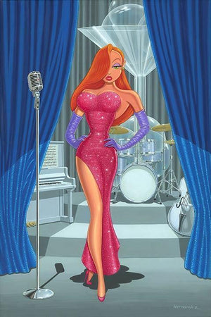 Jessica Rabbit on stage wearing a diva red glitter evening gown