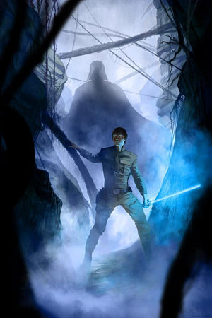 Luke Skywalker and Darth Vader entering a cave - Paper.