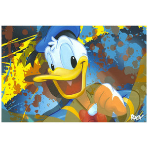 A happy Donald Duck, painted with a splash of colorful background.