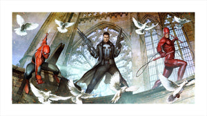 Superheroes - Spiderman and Iron Man are surrounded by white doves flying around.