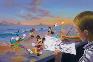 Dream Maker by  Jim Warren  A young boy is sketching an outline of Mickey, as the Gang Five play around the drawing table.