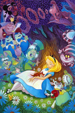 Alice sleeping under the tree, dreaming of being surrounded by the colorful characters in Wonderland