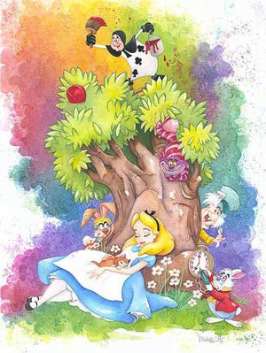 As Alice sleeps under a tree, she dreams of all the colorful characters from Wonderland.