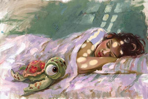 A human side of Ariel asleep dreaming of another life, with her stuffed turtle at her side.