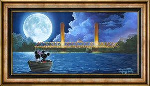 Drifting in the Moonlight. Features Mickey and Minnie in a boat as they drift toward the moonlight... Published Original | Oil on Canvas. Signed by Jared Franco