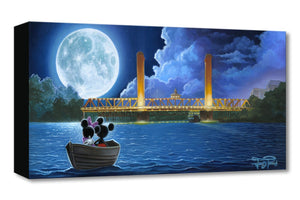 Mickey and Minnie in a boat as they drift toward the moonlight.