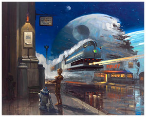 C3-PO and R2-D2 at the train station. - with the destroyed Death Star behind them