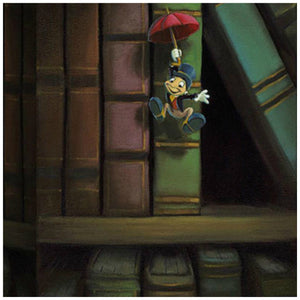 Dropping In by Rob Kaz.  Jiminy Cricket gliding down holding his red umbrella directly above Cleo's fish bowl - closeup