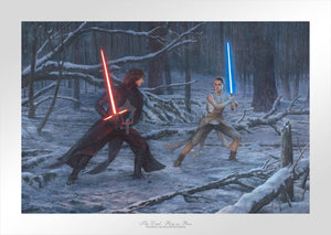 Rey and Kylo first lightsaber duel, - paper