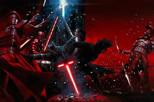 Ren and Rey battle with the Praetorian Guards.