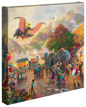 Dumbo by Thomas Kinkade  The happiness Dumbo soaring over the crowd. The onlookers' faces beam with pride and joy in their friend's accomplishments.