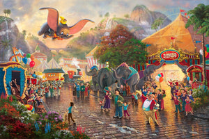Dumbo feels soaring over the crowd rtrays the happiness and pride that his circus friends feel for Dumbo as he soars above the crowd.- Unframed