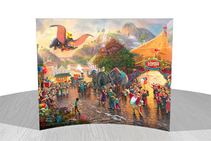 Dumbo portrays the happiness and pride that his circus friends feel for Dumbo as he soars above the crowd.