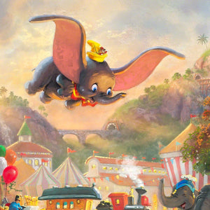 "Timothy Q. Mouse, Dumbo's best friend, joins Dumbo on his first flight without the aid of a ""magic feather"" - closeup"