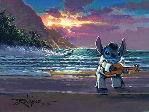 Stitch dressed as Elvis by beach