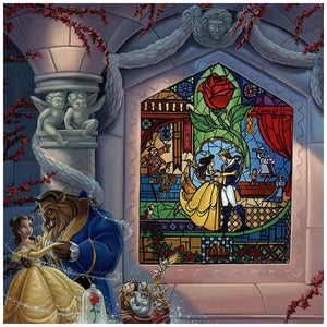 Enchanted Love by Jared Franco.  Belle and the Beast dancing in the castle's ballroom, a painted stain glass mural window of them in the background - closeup