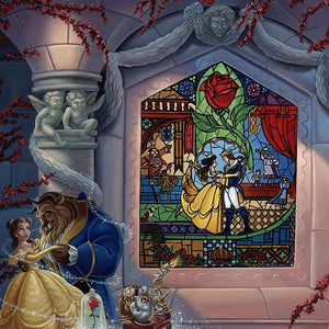 Enchanted Love by Jared Franco.  Belle and the Beast dancing in the castle's ballroom, a painted stain glass mural window of them in the background-closeup..