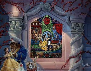 Enchanted Love by Jared Franco.  Belle and the Beast dancing in the castle's ballroom, a painted stain glass mural window of them in the background.