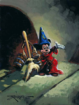 Mickey and wooden broom