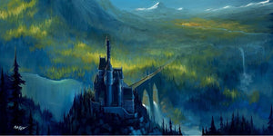 The Enchanted castle sits high above the wooded landscape, inspired by the Beauty and the Beast.