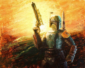 Boba Fett, the bounty hunter holding his EE-3 carbine rifle