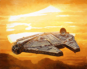 The Millennium Falcon sets off to the sunset.