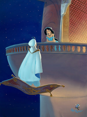 "Falling for Aladdin by Rob Kaz.  Aladdin romancing Princess Jasmine from the palace balcony. Inspired by Walt's Disney movie film, ""Aladdin."""