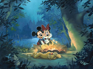 Mickey and Minnie roasting marshmallows by the fire, as Pluto sleeps