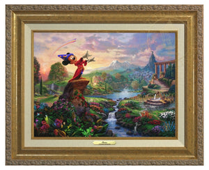 Mickey the sorcerer stands in the center of it, using his magic to orchestrate the sublime dance going on about him - Antique Gold Frame