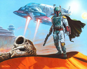Boba Fett hunts the sandune territory near the city of Tatooine.