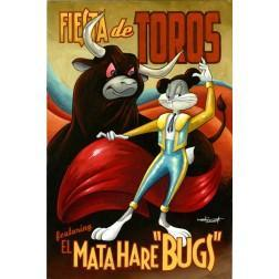Poster Style: Art Deco-inspired - Bugs Bunny and el toro in Mata Hare Bugs