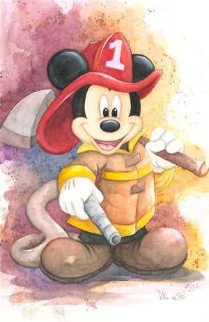 Mickey is ready with all his fireman hat and gear as the number 1 Fireman.