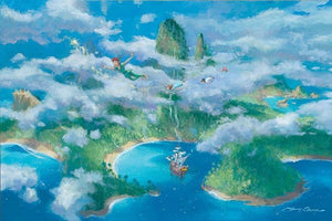 Peter Pan, Tinker Bell, Wendy flying over island of Neverland..