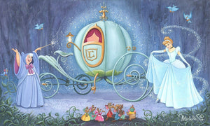 Cinderella's fairy godmother has used her magic wane to transform Cinderella into a princess fit for a ball.