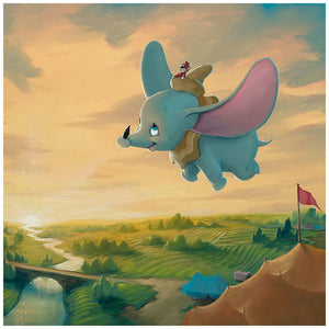 Flight Over the Big Top by Rob Kaz.   Timothy the mouse sits on top of Dumbo's hat, as they fly around over the countryside and the carnival - closeup