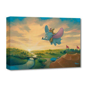 Flight Over the Big Top by Rob Kaz.   Timothy the mouse sits on top of Dumbo's hat, as they fly around over the countryside and the carnival.