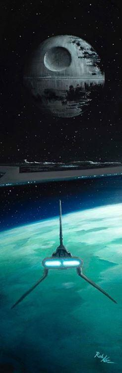 The Death Star II, Imperial Star Destroyer and V-wing fighter hovering over the planet Endor.