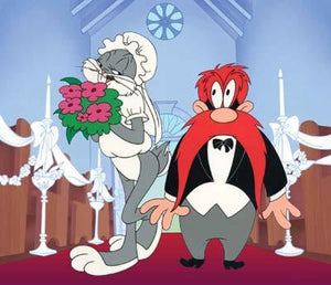 Bugs Bunny dressed bridal dress and Yosemite Sam in his tuxedo.