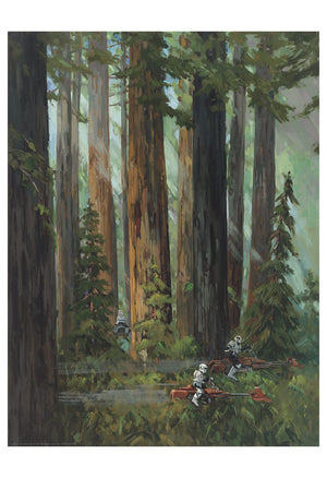 On Endor, scout troopers riding speeder bikes patrolled the forests,