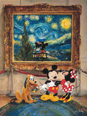 "Minnie kissing Mickey for painting the two of them in the famous ""The Starry Night"" by impressionist artist Vincent Van Gogh"