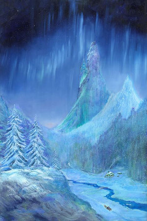 Frozen Sky by Harrison Ellenshaw.  Princess Elsa's ice castle sits high above the snow covered valley and icy skies.