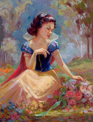 Snow White sitting in a woody area, gathering the colorful flowers, she picked.