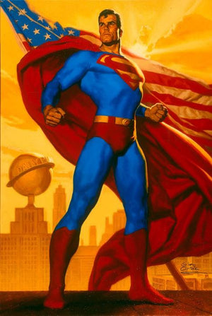 Truth Justice and The American Way by Glen Orbik  Superman stands tall, with the American flag flying behind him.