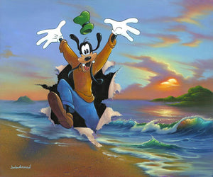 Goofy's Grand Entrance by Jim Warren  Goofy dashes out of an ocean scene painted canvas.