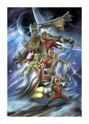 The five Guardians of the Galaxy our in space.