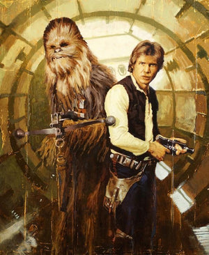 Vintage style portrait of Han Solo and Chewbacca.