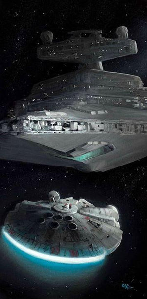 Han Solo out maneuvers the Imperial Star Destroyer.