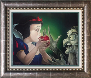 Have a Bite. The evil Queen offers Snow White a bit from the poison apple... Published Original, Oil on Canvas. Signed by Jared Franco