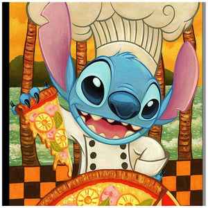 Hawaiian Pizza by Tim Rogerson  Chef Stitch is all smiles in this billboard style cameo poses, holding a slice of pineapple pizza - closeup