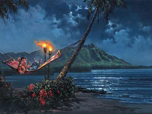 Hawaiian Serenade by Rodel Gonzalez  Lola and Stitch hang out on a hammock, as Stitch listen to Lola play her guitar under the moonlit at the beach.